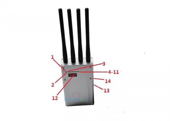 6.5w High Power Cell Phone GPS Jammer 4 Antennas DC12v For Banks / Churches