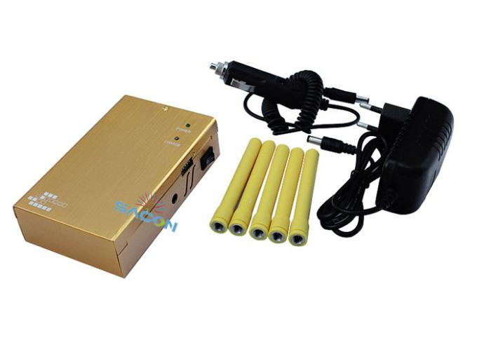 Yellow Color 5 Antennas 3G 4G Signal Jammer Block GPS WiFi