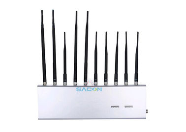 VHF UHF Cell Phone Wifi Jammer 10 Bands High Gain Antenna For School / Military