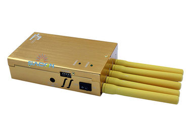 Yellow Color 5 Antennas 3G 4G Signal Jammer Block GPS WiFi For Anti -Tracking